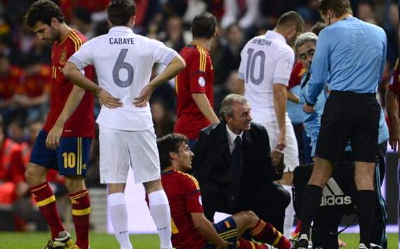 David Silva injured during the match between Spain and France