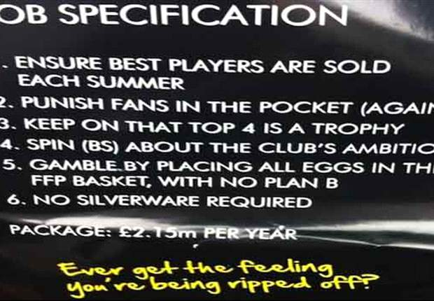 Fans distribute satirical flyer at Arsenal AGM
