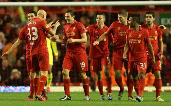 Liverpool players celebrating - Liverpool-Anzhi