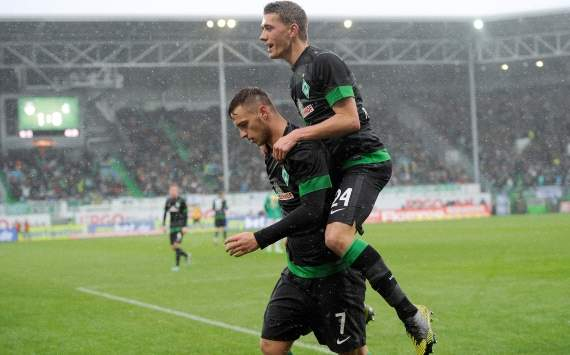 Germany, Bundesliga, Greuther Furth vs. Werder Bremen, Marko Arnautovic; Nils Petersen