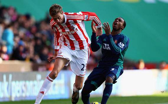 EPL - Stoke City v Sunderland, Peter Crouch and Danny Rose