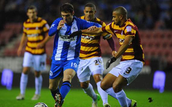 Capital One Cup - Wigan Athletic v Bradford City, Mauro Boselli and James Meredith