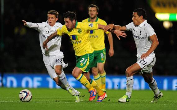 Capital One Cup, Norwich City v Tottenham Hotspur, Jacob Butterfield, Jake Livermore, Tom Carroll