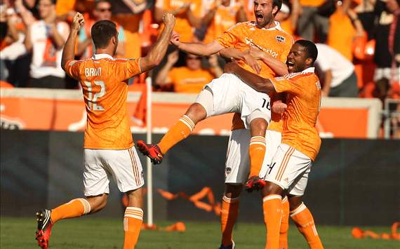 Adam Moffat and Houston Dynamo teammates