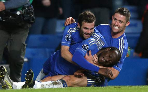 CL - Chelsea FC v FC Shakhtar Donetsk, Victor Moses, Juan Mata and Gary Cahill