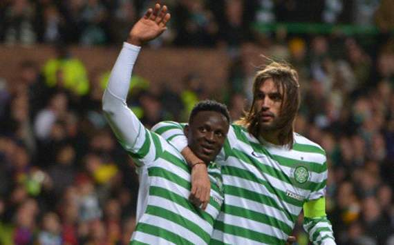 Kenya midfielder Victor Wanyama with Georgies Samaras against Barcelona
