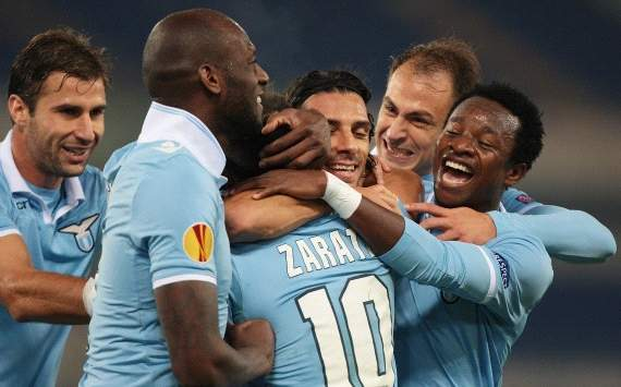 Lazio players celebrate a goal against Panathinaikos
