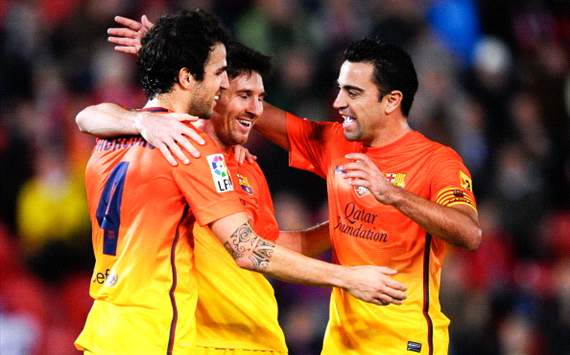 Fabregas, Xavi and Messi - Mallorca-Barcelona