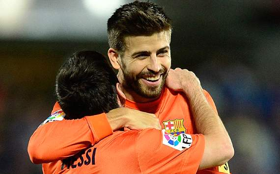 La Liga:Barcelona,Gerard Pique, Leo Messi