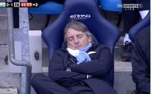 Roberto Mancini taking a nap during Manchester city- Tottenham game