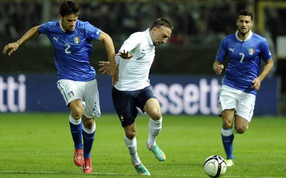 Christian Maggio (I), Franck Ribery (F), Candreva (I) - Italy-France - Friendly Match