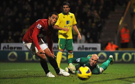 EPL - Norwich City v Manchester United, Javier Hernandez and John Ruddy