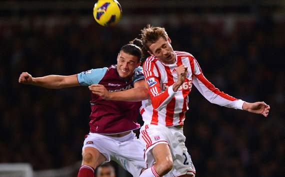 West Ham United v Stoke City, Andy Carroll, Peter Crouch