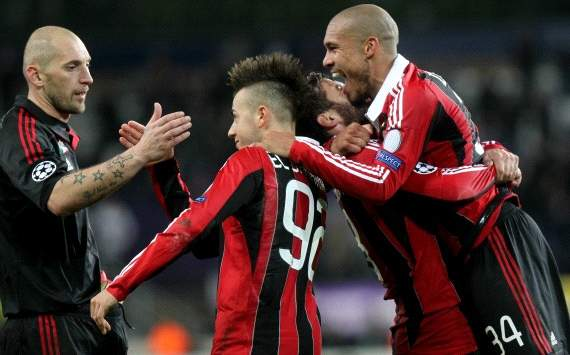 Ac Milan players celebrate against Anderlecht