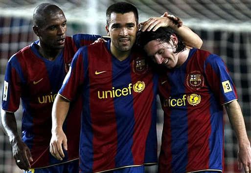 Abidal - Deco - Messi - Barcelona-Zaragoza (MarcaMedia)