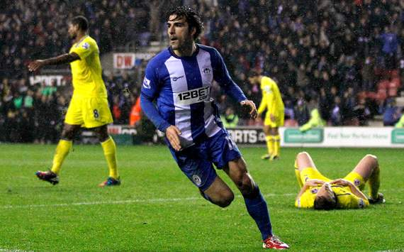 EPL, Wigan Athletic v Reading, Jordi Gomez