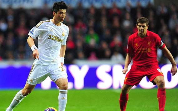 Ki Sung-Yueng &amp; Steven Gerrard, Swansea vs Liverpool (EPL)
