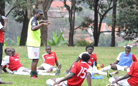 Kenya coach James Nandwa with the squad ahead of CECAFA tournament.
