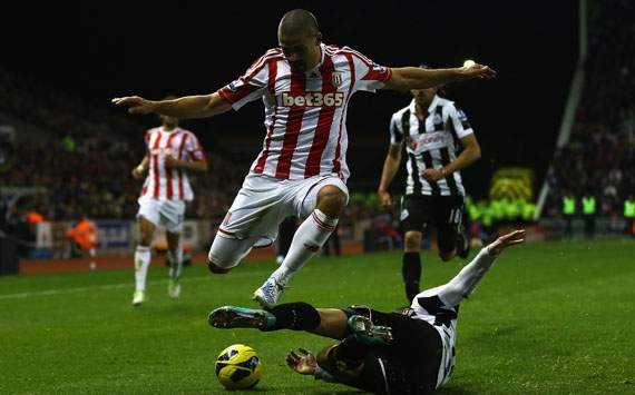 EPL - Stoke City v Newcastle United, Jonathan Walters and Davide Santon