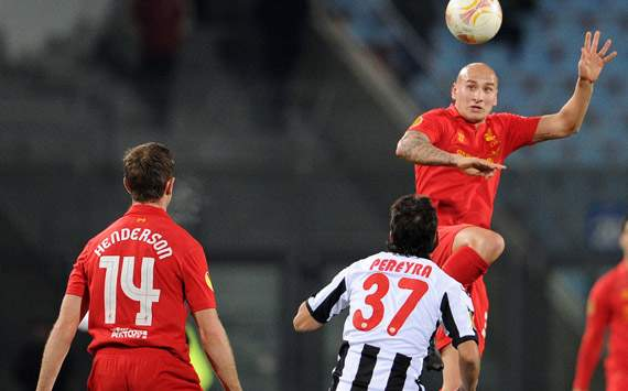 Europa League - Udinese Calcio v Liverpool, Jonjo Shelvey and Roberto Pereyra