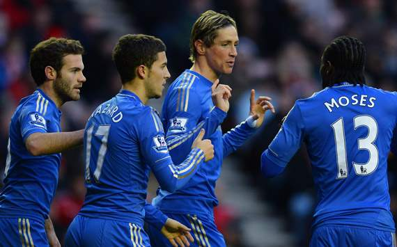 EPL - Sunderland v Chelsea, Fernando Torres, Juan Mata, Eden Hazard and Victor Moses