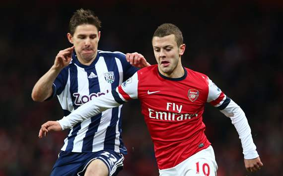EPL -  Arsenal v West Bromwich Albion, Jack Wilshere and Zoltan Gera