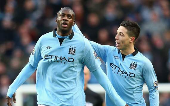 EPL - Manchester City v Manchester United, Yaya Toure and Samir Nasri