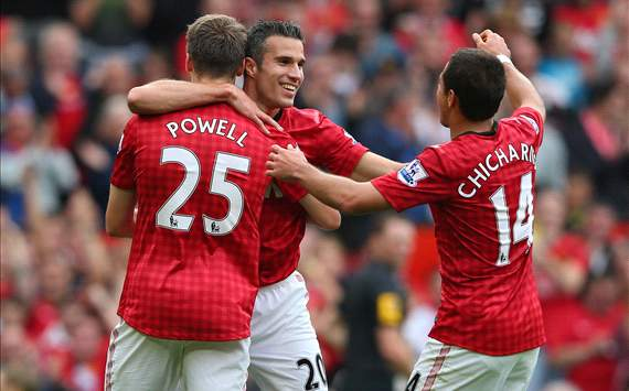 Javier Hernandez, Robin van Persie, Nick Powell, Manchester United (Getty)