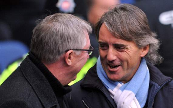 Sir Alex Ferguson and Roberto Mancini, Manchester City vs Manchester United