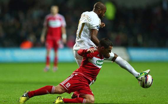 Capital One , Swansea City v Middlesbrough, Scott McDonald, Dwight Tiendalli