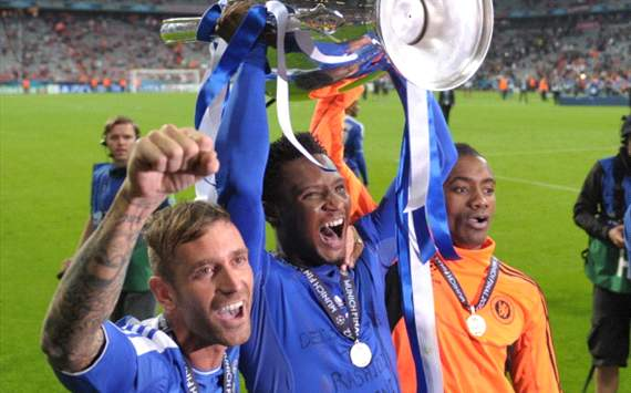 Obi Mikel with Champions League trophy