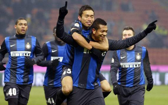 Inter players celebrating - Inter-Verona