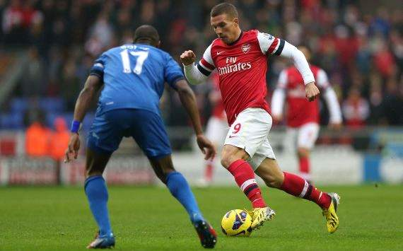 Lukas Podolski, Wigan vs Arsenal