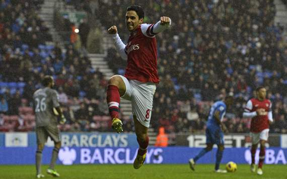 EPL, Wigan Athletic v Arsenal, Mikel Arteta
