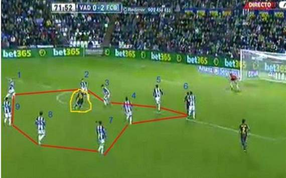 Lionel Messi scoring a goal when surronded between 9 Valladolid players