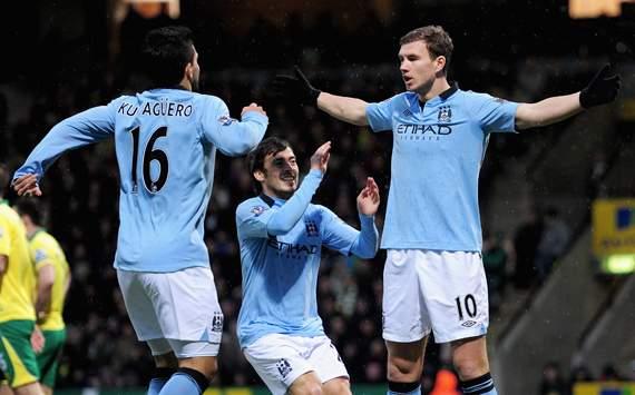 EPL - Norwich City v Manchester City, Sergio Aguero, David Silva and Edin Dzeko