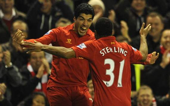 EPL - Liverpool v Sunderland, Luis Suarez and Raheem Sterling