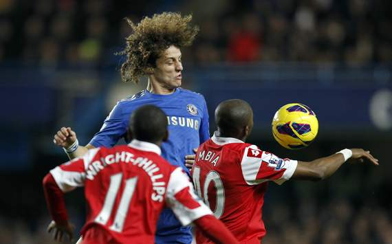 EPL - Chelsea vs Queens Park Rangers, David Luiz, Stephane Mbia and  Shaun Wright-Phillips