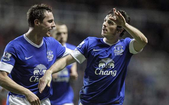 EPL, Newcastle United v Everton, Leighton Baines (R), Phil Jagielka (L)