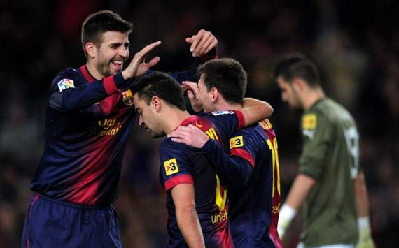 Gerard Pique, Lionel Messi, Xavi Hernandez - Barcelona - Espanyol