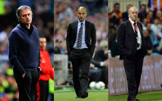 Mourinho, Guardiola y Del Bosque