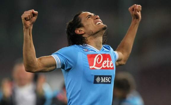 Edinson Cavani in Napoli-Roma (Serie A)