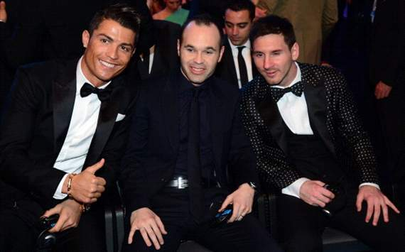 Cristiano Ronaldo, Iniesta, Messi
