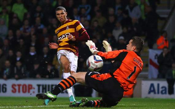 Capital One Cup Semi-Final, Bradford City v Aston Villa, Nahki Wells