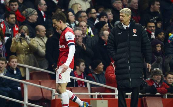 EPL - Arsenal v Manchester City, Laurent Koscielny and Arsene Wenger