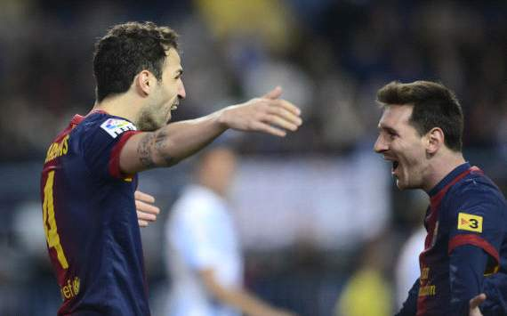 Cesc Fabregas and Lio Messi celebrate, Malaga vs Barcelona