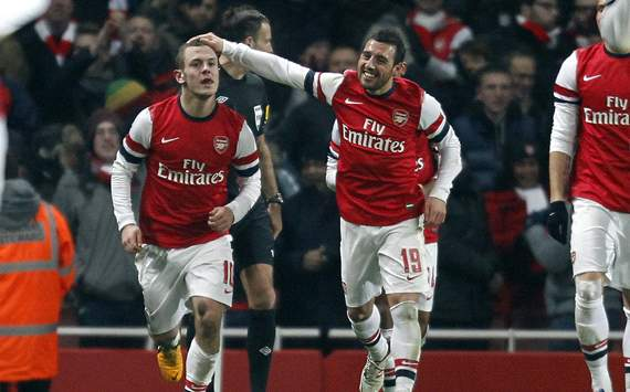 FA Cup, Arsenal v Swansea City, Jack Wilshere (L), Santi Cazorla (R)