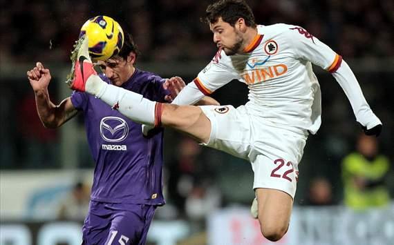 Stefan Savic (F), Mattia Destro (R) - Fiorentina-Roma - Italy Cup