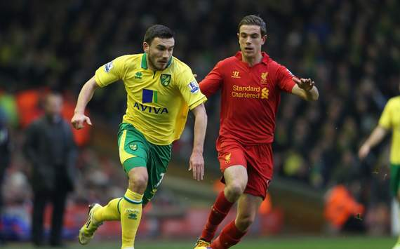 EPL - Liverpool v Norwich City, Jordan Henderson and Robert Snodgrass