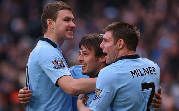 EPL - Manchester City vs Fulham,  Edin Dzeko, David Silva & James Milner